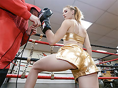 One orgasmic plumb sesh afterward in the can, and our man blows his flow all over our boxing sex industry star Ashley. She sure knows how to take it on the chin!