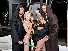 These dark side dads climb on the sofa and pummel each others stepdaughters into hyperspeed before using the strength to spunk all over their faces. I guess Luke was not the only one with dad issues after all! Were Chloe and Chanel the glorious Star Wars