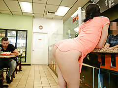 Just witness that rump jiggle as she ambles around this sandwich supermarket looking like a entire snack. She sits down and embarks eye pummeling our boy before reaching down to pull her skirt up and showcase off her cheetah print panties. That is where s