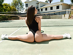 Whether it's with a tennis racket or a big package, Abella Danger is ready to play. She flashes off her meaty booty by juggling it around outside on the hardcourt. With an booty like that, there's no opportunity we're getting a point off her. She brings o