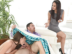 Hot young ladies all canvassed in oil and getting a fine tempting massage