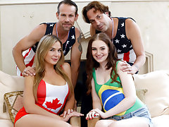 Mischievous magnificent and super-steamy bestfriends Blair and Maya exchange their daddy's to get their slit romped right on the spot while dressed in some olympic clothes costumes.